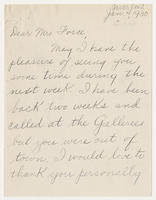 Emil Ganso to Mrs. Force, Jan. 4, 1930