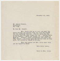 Sec'y to Mrs. Force to Mr. Arnold Blanch, November 27, 1929