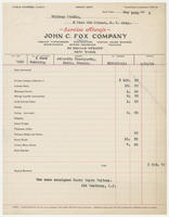 Service invoice from John C. Fox company to Whitney Studio, May 16th, 1928