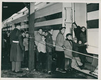 Crowds boarding the Freedom Train
