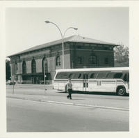 Bus in front of White Plains Train Station