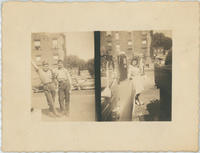 Split photo of boys leaning on each other and woman leaning on car at Daniele and Yazzo Service Station