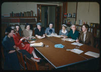 League of Women Voters study group meeting in Story Room