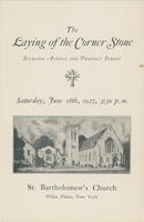 Order of Service for Laying of the Cornerstone service, St. Bartholomew's Church