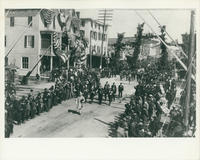 Firemens' Parade on Railroad Avenue, marching band in foreground