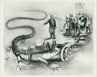 "Cartoon depicting Dr. Ernst Schmid and the ""sewer problem"""