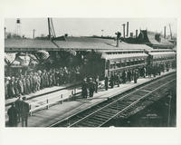 Soliders departing from White Plains Railroad Station