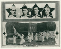 Photo of four brothers in the U.S. Navy and women working with the Red Cross